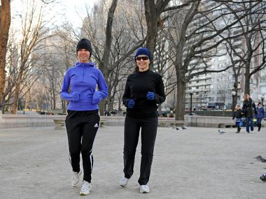 Nina Malta, 54, and Paloma Malta, 19, suggested using socks for gloves if you really want to run on the cheap, Jan. 6, 2012.