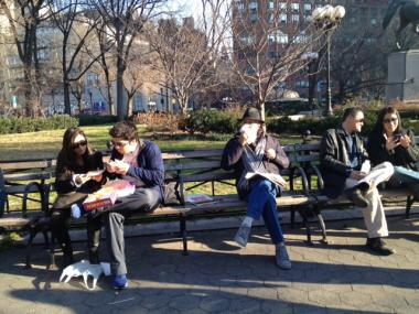 Visitors to Union Square enjoy the balmy weather on Sat. Jan. 7, 2012.