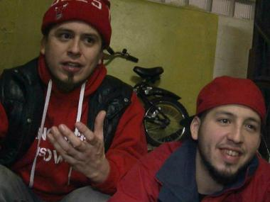 Rodrigo (l) and Gonzalo Venegas (r), members of rap group, Rebel Diaz, and founders of the Rebel Dias Arts Collective in the South Bronx.