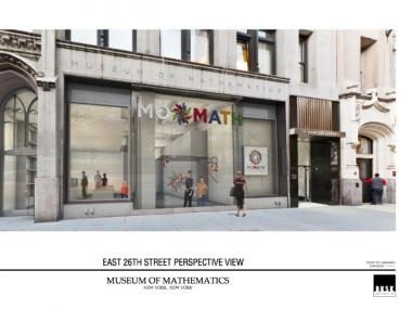 An earlier rendering of the MoMath facade shows more limited bronze detailing and a less unified logo design.
