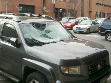 Car where a woman who jumped off the Williamsburg Bridge landed, Jan. 10, 2011.