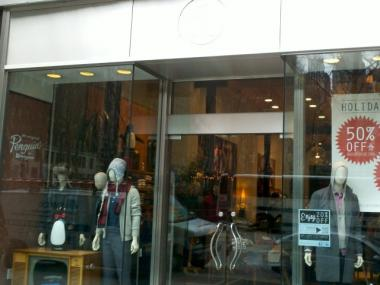 Penguin Clothing Store at 1077 Sixth Ave., where a swastika was discovered scrawled on the window, Jan. 8, 2011.