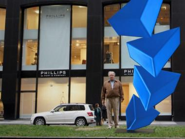 A rendering of a Rafael Barrios sculpture (with the artist) on Park Avenue at East 57th Street.