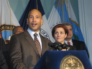 City Council Speaker Christine Quinn and Bronx Borough President Ruben Diaz Jr. announced a deal on the living wage bill Thursday.