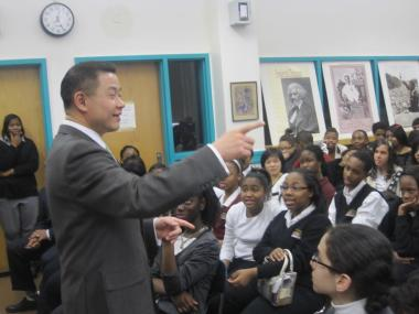 John Liu spoke to middle school students at Wadleigh and Frederick Douglass Academy II about how Martin Luther King Jr. affected his life. He called the plan to close Wadleigh's middle school