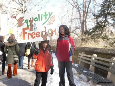 Students from the Manhattan Country School march in 2011's Martin Luther King Jr. day event.