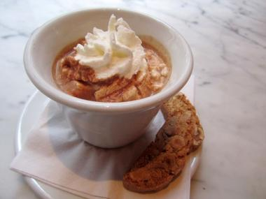 The hazelnut hot chocolate at Otto Enoteca Pizzeria at 1 Fifth Ave. in Greenwich Village provides a classy alternative to eating Nutella out of the jar.