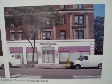 A photo presented at the Landmarks Preservation Commission showing what Sugar & Plumm Purveyors of Yumm's storefront will look like under the new design.