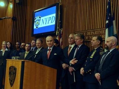 Police Commissioner Raymond Kelly and DA Cyrus Vance announce the takedown of an East Harlem drug ring on Jan. 18, 2012.