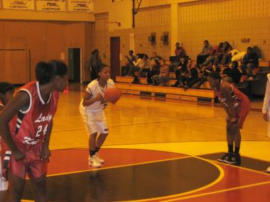 The Murry Bergtraum girls' team takes on John F. Kennedy on Jan. 18, 2012.