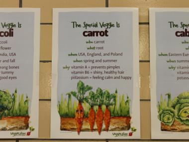 P.S. 11 has a heavy focus on teaching kids about food and nutrition, and lunches include a variety of veggies.