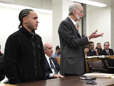 Anthony Martinez, who performs as Intikana, appears in court on Jan. 20, 2012.  He was arrested near Zuccotti Park on Nov. 15, 2011, and alleges that police beat him.