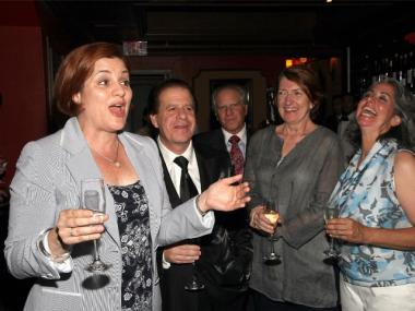 New York City Council Speaker Christine C. Quinn, Mark Sherry, Greg Sherry, Mimi Brown and Carol Anastasio attend the wedding of Carol Anastasio and Mimi Brown Marry on the first day of legal same-sex marriage in New York at Old Homestead Steakhouse on July 24, 2011 in New York City.