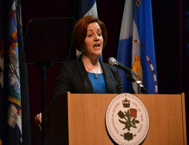 City Council Speaker Christine Quinn introduces Helen Marshall at the 2012 State of the Borough Address in Queens.