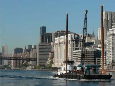 Verdant Power's turbines being transported in the East River in 2008.