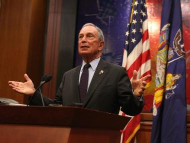 Mayor Michael Bloomberg holds a press conference after delivering testimony before the joint session of the Assembly Ways and Means and the Senate Finance committees