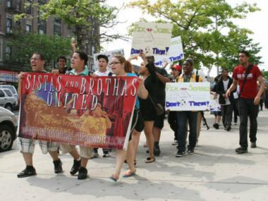 Students from Gompers High School who are members of the youth organizing group, Sistas and Brothas United, march in 2011 to demand federal improvement funds for their school.