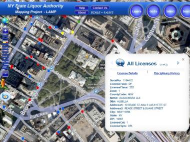 The State Liquor Authority has launched a new, interactive map that tracks bars across the state.