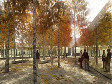 The winning design for an AIDS memorial on the St. Vincent's Triangle features walls that are reflection on the inside of the park and slate on the outside.