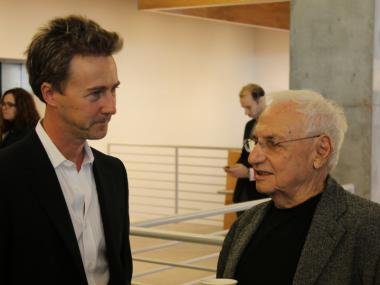 Edward Norton chats with Frank Gehry at the opening of the Pershing Square Signature Center on Jan. 31, 2012.