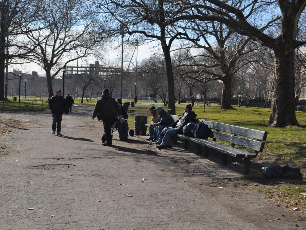 A homeless man was attacked Tuesday morning in the park, cops said.