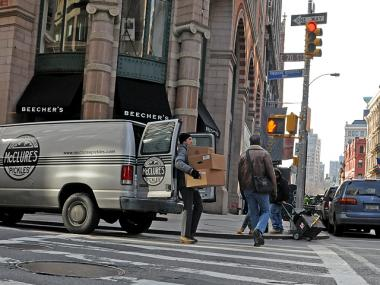 Christopher Thorn, 33, makes a delivery for McClure's Pickles in Manhattan on Jan. 31., 2012.