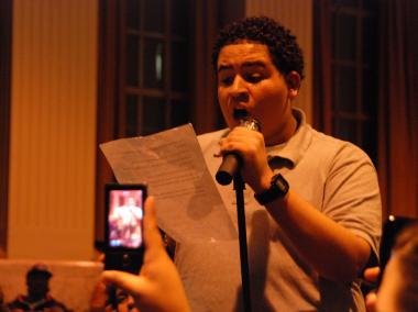 Joseph Duarte, a Gompers sophomore, blamed the DOE for his school's struggles at a public hearing on Thurs., Feb. 3, 2012.
