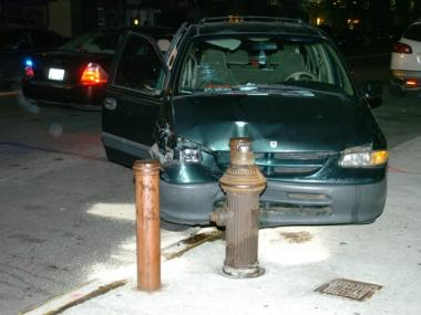 A pedestrian was struck by a minivan that jumped a curb in East Harlem late Fri., Feb. 3, 2012, authorities said.