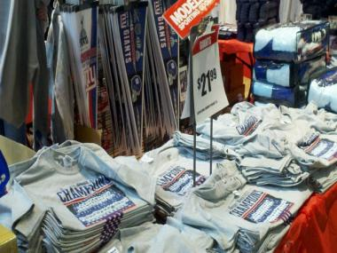 Giants Super Bowl shirts went on sale at the Times Square Modell's almost immediately after Big Blue defeated New England.