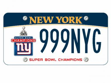 The New York Giants Super Bowl XLVI victory license plate.