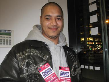 "Winner Francisco Atances, 34, of the Bronx, said he's a huge Giants fan ""since I was born."""