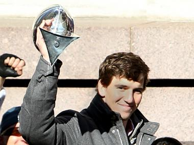 New York Giants quarterback Eli Manning takes the stage at City Hall on Feb. 7th, 2012.