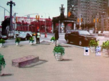 A rendering of the intersection of Delancey and Clinton streets, once the DOT widens the sidewalk with a pedestrian plaza.