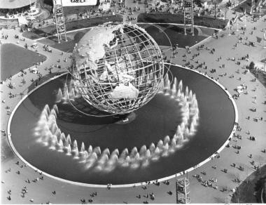 Fountains shoot water around the Unisphere during the 1964 World's Fair in Queens.