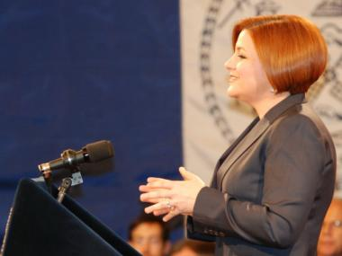 City Council Speaker Christine Quinn delivered her State of the City speech Thurs., Feb. 9 at City Hall.