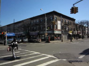 A woman was killed crossing Fulton and Crescent streets Monday morning, NYPD officials said.