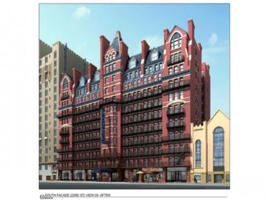 A rendering of the hotel's north side after the proposed changes to the rooftop.