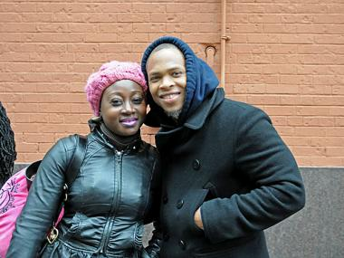 Andre Christie, 28, and Mariama Kabba, 30, took Megabus to Philadelphia from Port Authority on Feb. 15, 2012.