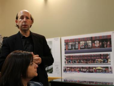 Architect Gene Kaufman presents plans to change the exterior of the Hotel Chelsea on Feb. 15, 2012.