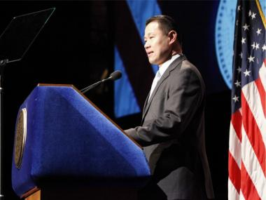 City Controller John Liu delivers his first State of the City address at City College on Thurs., Feb. 16, 2012.