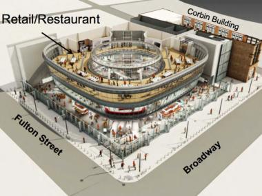 The third level of the Fulton Street Transit Center will feature restaurants and retail. The MTA plans to use the same leasing model for the proposed retail complexes at both Fulton Street and Columbus Circle.