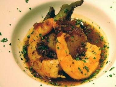 The NoHo restaurant Mercat is noted for its Spanish and Catalan dishes, such as this fish stew with artichokes and langostines.