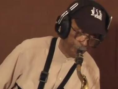 Jimmy Heath plays the saxophone during recording of the Oscar-nominated animated film