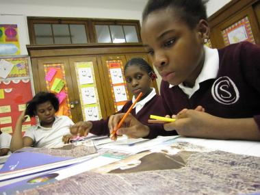Students learn about ancient Egypt at a sixth grade class at Opportunity Charter School.