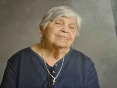 Daryl-Ann Saunder's photo of Adela Perez is hanging at the Diana Jones Center.