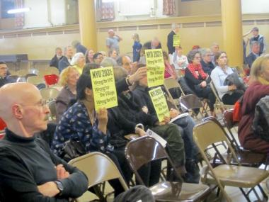 About 200 people attended CB2's Feb. 23, 2012 meeting, at the end of which it voted against NYU's 20-year expansion plan.