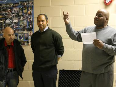 Joe Perez, Ray Figueroa and Rev. Cleveland Coley presented ideas for public projects in Mott Haven during a