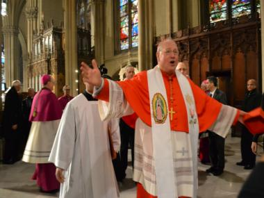 Cardinal Timothy Dolan gave thanks to New Yorkers at a prayer service Sat., Feb. 25, 2012, at St. Patrick's Cathedral.