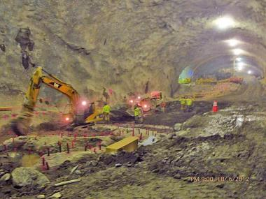 Mining at the cavern that will house the 72nd Street station.