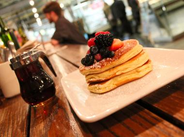 At Friedman's Lunch in Chelsea Markets enjoy gluten-free pancakes with berry compote and maple syrup would go perfectly with a brunch date. ($11)